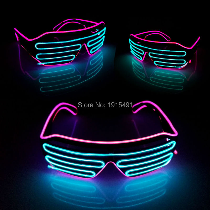 New Arrival Bicolor Flashing Lovely LED Neon Eyeglasses Holiday Lighting Sound Activated EL Wire Glasses For Fashion Show Party