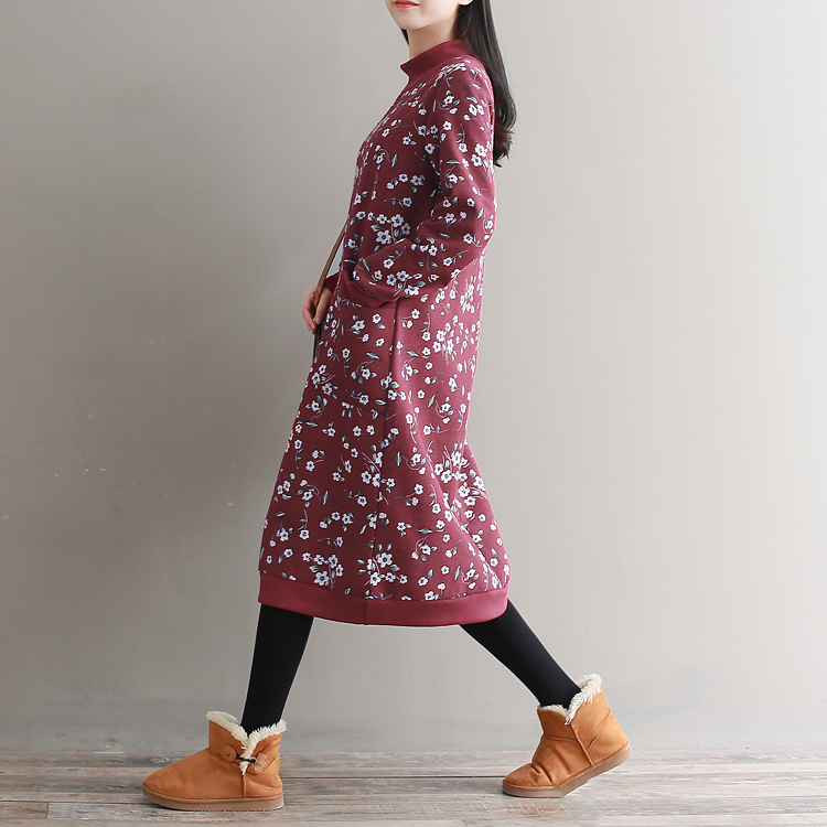 Casual Vintage Retro Harajuku Dames Kleding Loose Velvet Floral Cotton Tunique Femme Long Sleeve Thick Women Autumn Wnter Dress