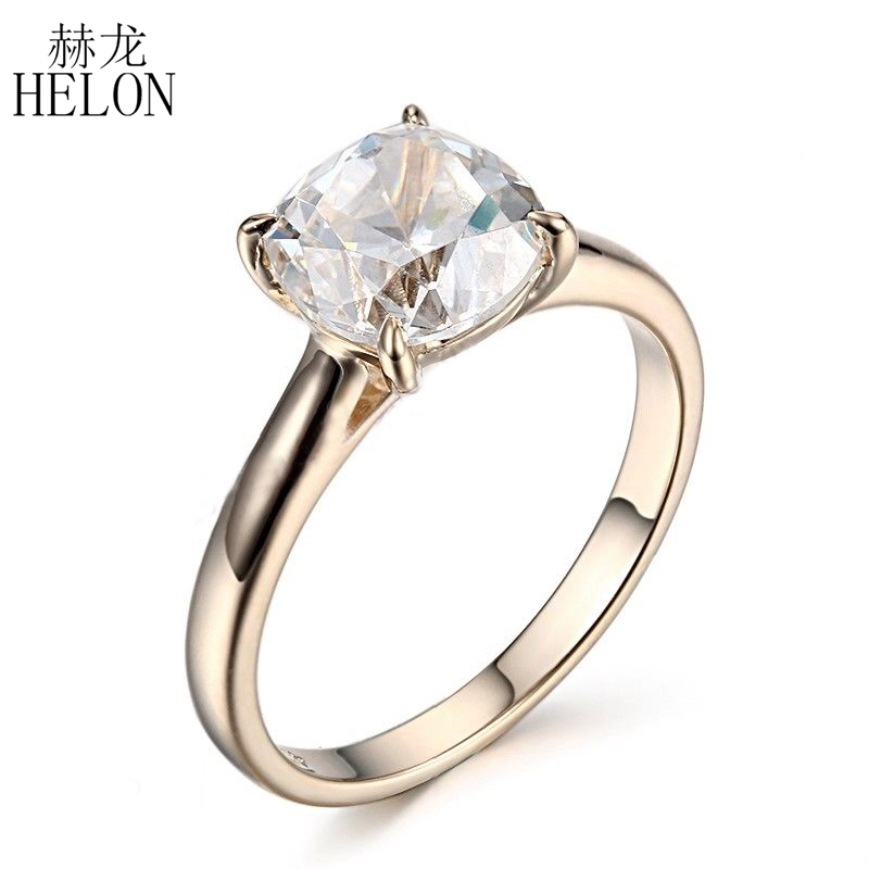 HELON Sterling Silver 925 Flawless 8mm Round 2.4ct Natural White Topaz Engagement Wedding Ring For Women Trendy Fine Jewelry helon sterling silver 925 flawless 11x9mm emerald cut 4 36ct real blue topaz natural diamond engagment wedding ring fine jewelry