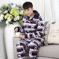 4XL Homens pijama de algodão set outono inverno quente grossa cor Hit de lã grossa longo-sleeved domésticos dos homens cintura elástica sleepwear MQ