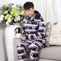 4XL Men cotton pajamas set winter autumn thick warm Hit color thick fleece long-sleeved household men elastic waist sleepwear MQ