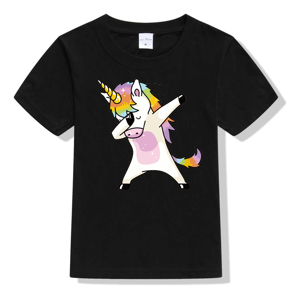 Girls T-Shirt Tops Dabbing Unicorn Streetwear Teens Pug Boys Kids Dog Unisex Hip-Hop