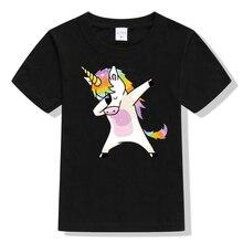 Dabbing unicornio niños niñas camiseta dabbing pug perro niños camiseta adolescentes unisex streetwear tops hip hop camisetas camiseta