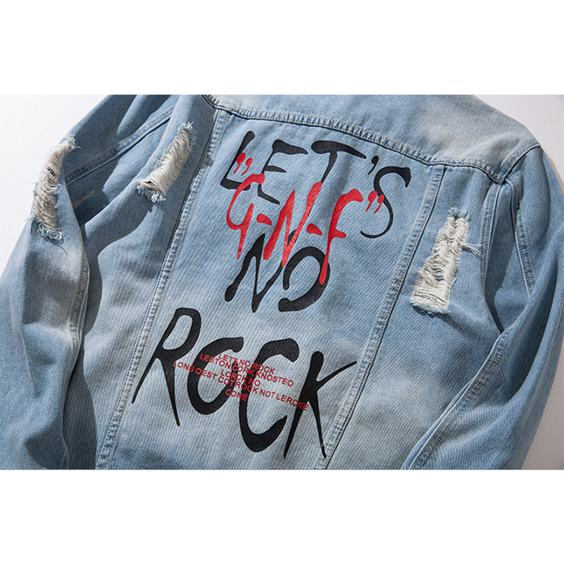 Punk Hop Vestes Cowboy Blue Outwear Trou Effilochée Cassé Veste Manteaux Moto Jeans Printemps Lettre Denim Automne Hip Hommes qn7OwnFC