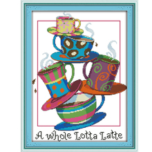 Joy Sunday, Five cup, cross stitch embroidery set, printing cloth kit, needlework, fashion pattern kit
