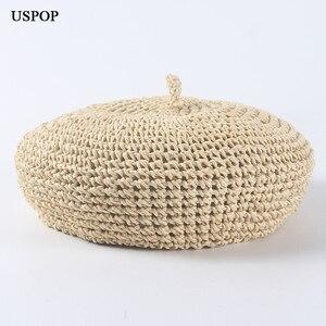 Image 1 - USPOP fashion berets adjustable straw beret women straw hat female breathable solid color summer hats