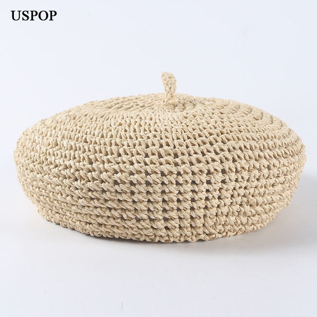 USPOP fashion berets adjustable straw beret women straw hat female breathable solid color summer hats