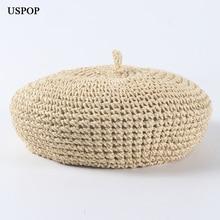 USPOP fashion berets einstellbare stroh baskenmütze frauen stroh hut weibliche atmungs einfarbig sommer hüte