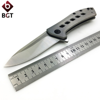 0801 M390 D2 Folding Knife Titanium Steel Handle Tactical Hunting Camping Combat EDC Pocket Knives Survival