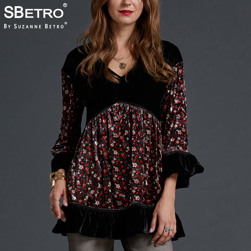 d256f5fd3b857f SBetro by Suzanne Betro Velvet Blouse Women Tops Lace V-Neck Print 3/4