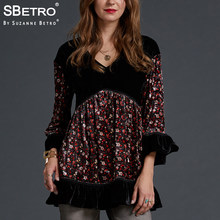 SBetro by Suzanne Betro Velvet Blouse Women Tops Lace V-Neck Print 3/4 Bell Sleeve Casual Tunic Autumn Tee Shirts Ladies Blouses(China)