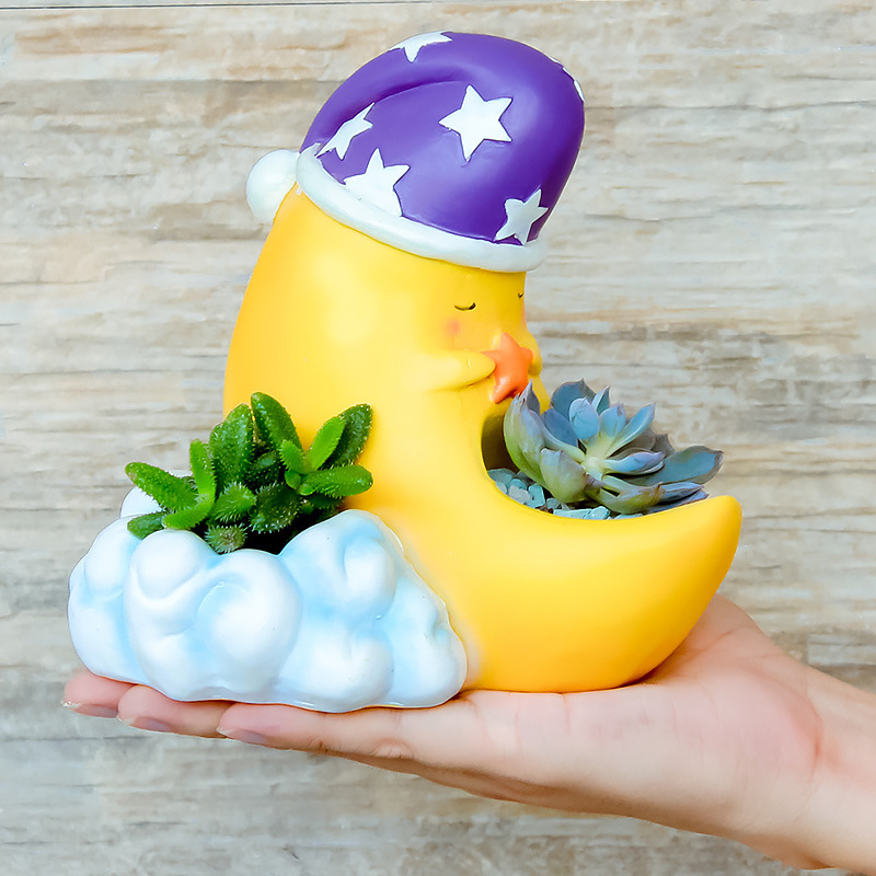2017 New Arrival Cartoon Moon Flower Pot Resin Flowerpot Succulent Plant Pot Fairy Garden Bonsai Planter Home Decor Ornament