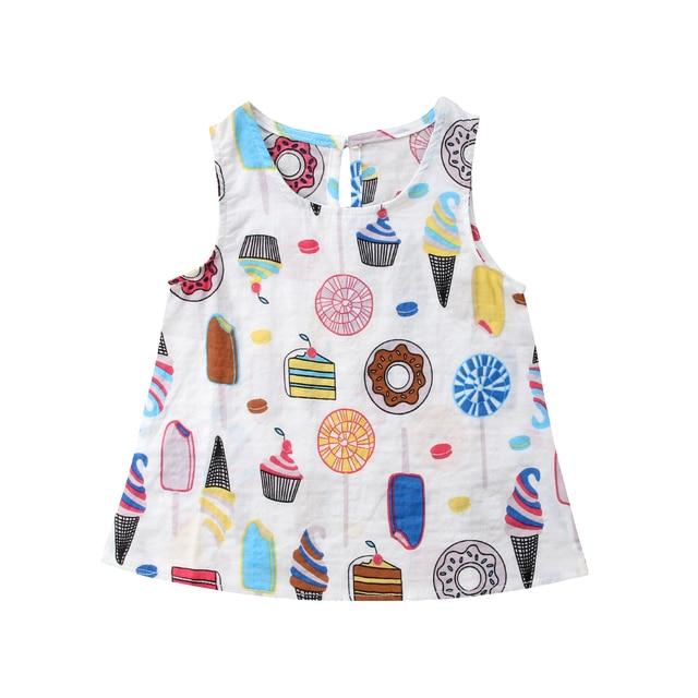 a4b09a8919b97 Da criança Infantil Do Bebê Dos Miúdos Sem Mangas Menina Sorvete Verão  Vestido de Festa Da