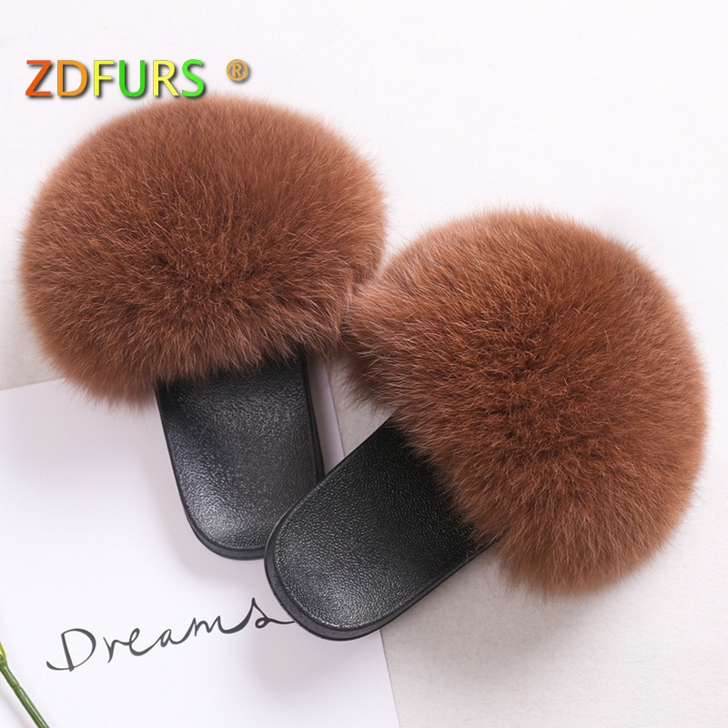 Apparel Accessories Faithful Zdfurs *2018 New Arrival Women Winter Fashion Fur Slippers 100% Real Fox Fur Sliders Female Indoor Outdoor Sandal Shoes