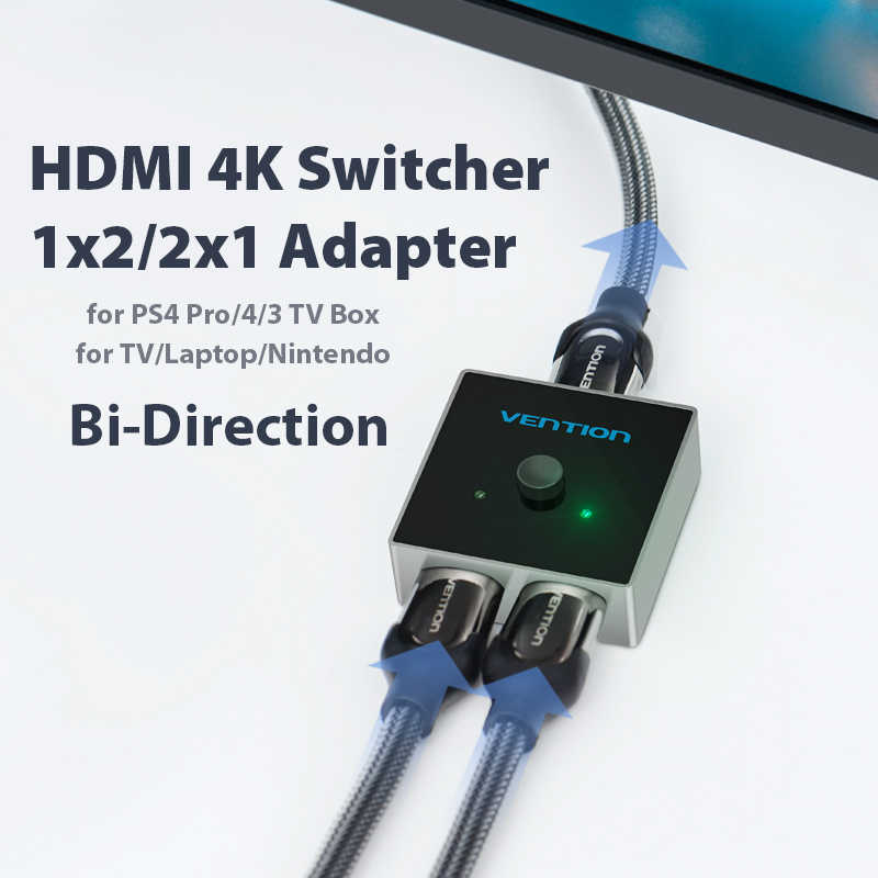 Ventie Hdmi Switch Bi-Richting 2.0 Hdmi Splitter 1x 2/2X1 Adapter 2 In 1 Out converter Voor PS4 Pro/4/3 Tv Box Hdmi 4K Switcher