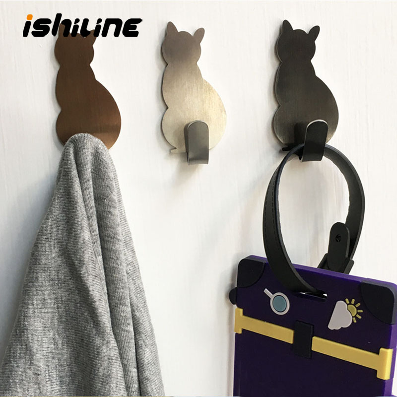 2pcs Self Adhesive Wall Hooks Cat Pattern Hangers For Bathroom Kitchen Stick On Wall Hanging Door Clothes Towel Racks Crochets
