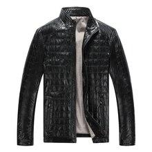 חם סתיו החורף חדש סגנון גברים של מעילי עור משובץ בתוספת כותנה קוריאני מזדמן עור בגדי Mens מעיל אופנוע מעילי