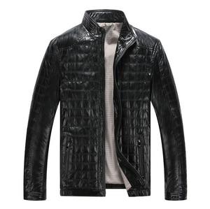 Image 1 - Autunno caldo di Inverno dei Nuovi Uomini di Stile di Cuoio Giubbotti Plaid in Cotone Coreano Casual abbigliamento In Pelle Mens Cappotti Giacca moto