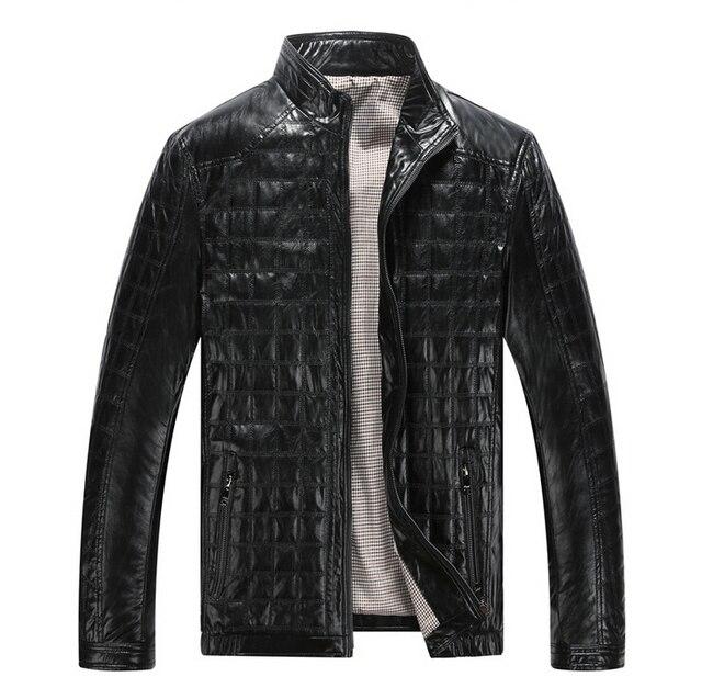 Autunno caldo di Inverno dei Nuovi Uomini di Stile di Cuoio Giubbotti Plaid in Cotone Coreano Casual abbigliamento In Pelle Mens Cappotti Giacca moto