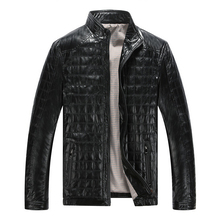 Hot Autumn Winter New Style Mens Leather Jackets Plaid Plus Cotton Korean Casual Leather clothes Mens motorcycle Jacket Coats