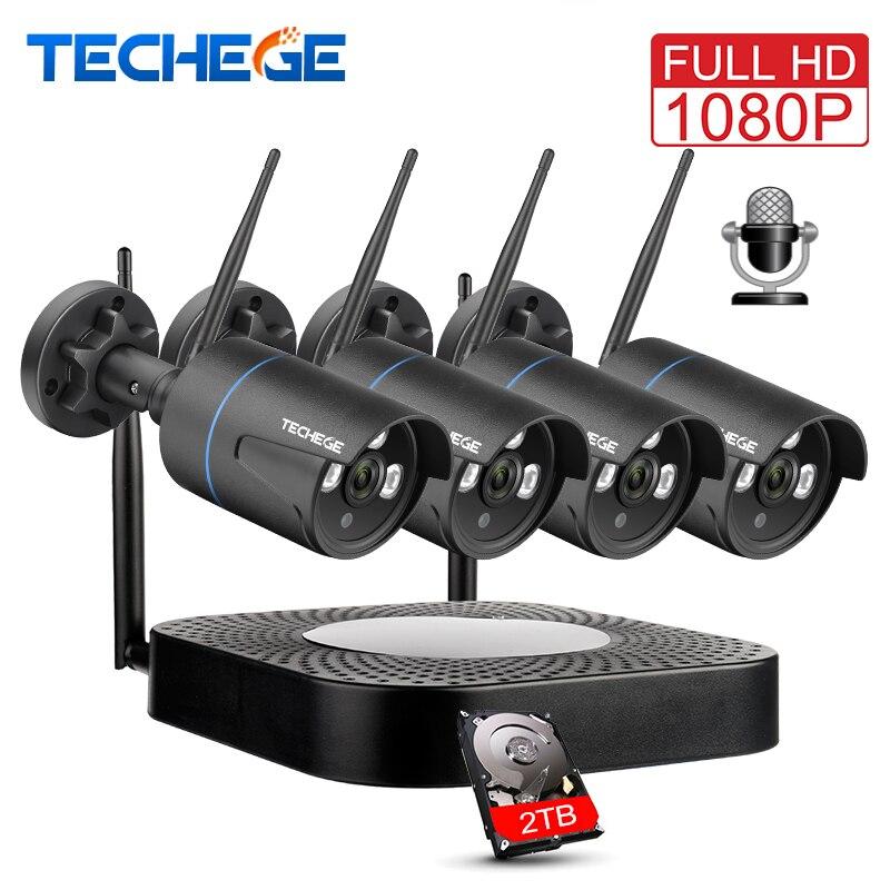 Techege 4CH CCTV Системы 1080P HD аудио Беспроводной NVR комплект Открытый Ночное Видение безопасности IP Камера WI-FI CCTV Системы Plug & Play