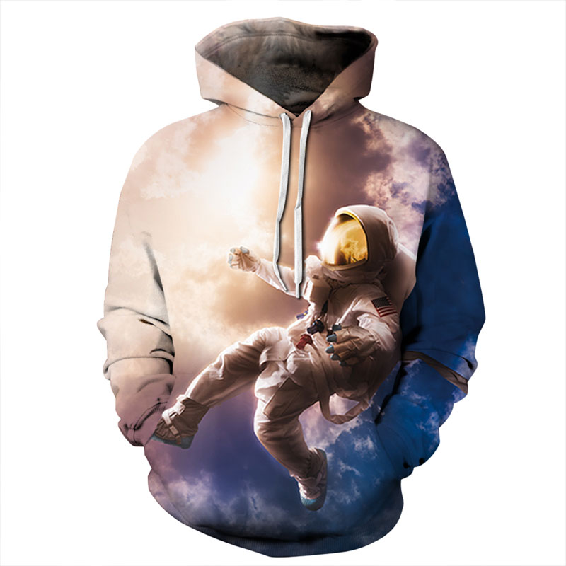 Mr.1991INC New Fashion Men/Women 3d Sweatshirt Print Astronauts On The Moon Thin Hooded Hoodies Hoody Pullovers