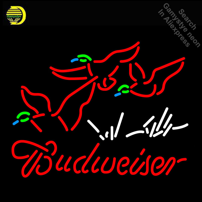 Budweise Ducks Neon Sign Neon Bulbs Sign Beer GLASS Tube Handcraft neon Light Signs Advertise cool vintage lamps Dropshipping|Neon Bulbs & Tubes| |  - title=
