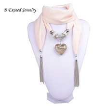 Women Milky White Pendant Scarf Jewelry Tartan Necklace Crystal Heart Decorating Pendant Tassels Scarves (SC150007)