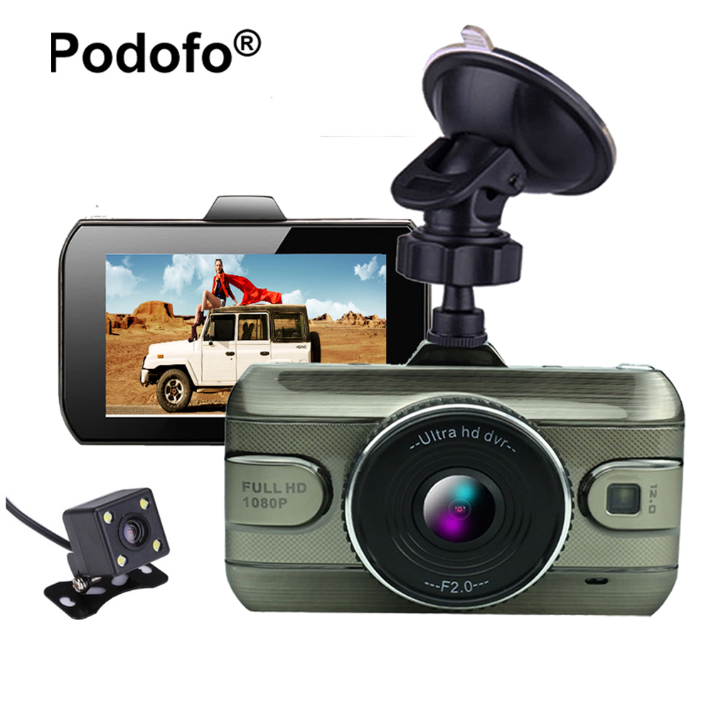 Podofo Dual Lens Car DVR Camera Dashcam FHD 1080P 170 Degree Registrator Recorder Backup Rearview Cameras Night Vision Dash Cam