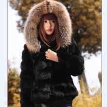 2017 hot sale women rabbit fur coat real genuine rabbit fur jacket with real raccoon fur collar real natural rabbit fur coats