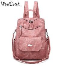 WESTCREEK Brand Vintage Pink Backpacks Women Female Bag PU Bagpack Fashion Retro Backpack Purse