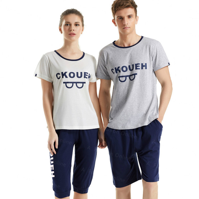 Brand New Summer Mens Tracksuit Lovers Pajama Sets Cotton Sleepwear Men's Pajams For Couple Lounge  Jogger Shorts