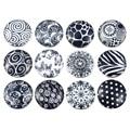 Mjartoria 12 pcs black & white padrão misto de vidro 18mm botões de pressão para o snap jewelry making bracleets & bangles diy presente