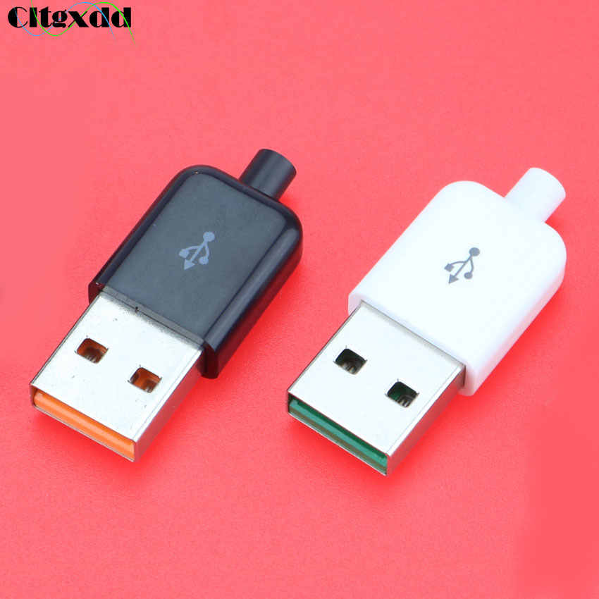 Cltgxdd 1 ADET DIY USB 2.0 Konektör Fişi A Tipi Erkek 4 Pinli Montaj adaptör soketi Siyah Beyaz Plastik Kabuk veri Bağlantısı