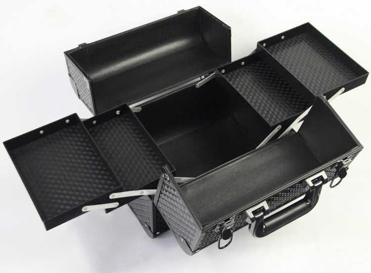 Luxo preto cosméticos organizador treliça padrão feminino maquiagem organizador beleza vaidade caso organizador multi camadas compõem caixa