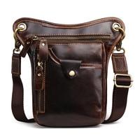 New Cool Crazy Horse Leather Men Bag Small Genuine Leather Bag Vintage Shoulder Messenger Bag Retro