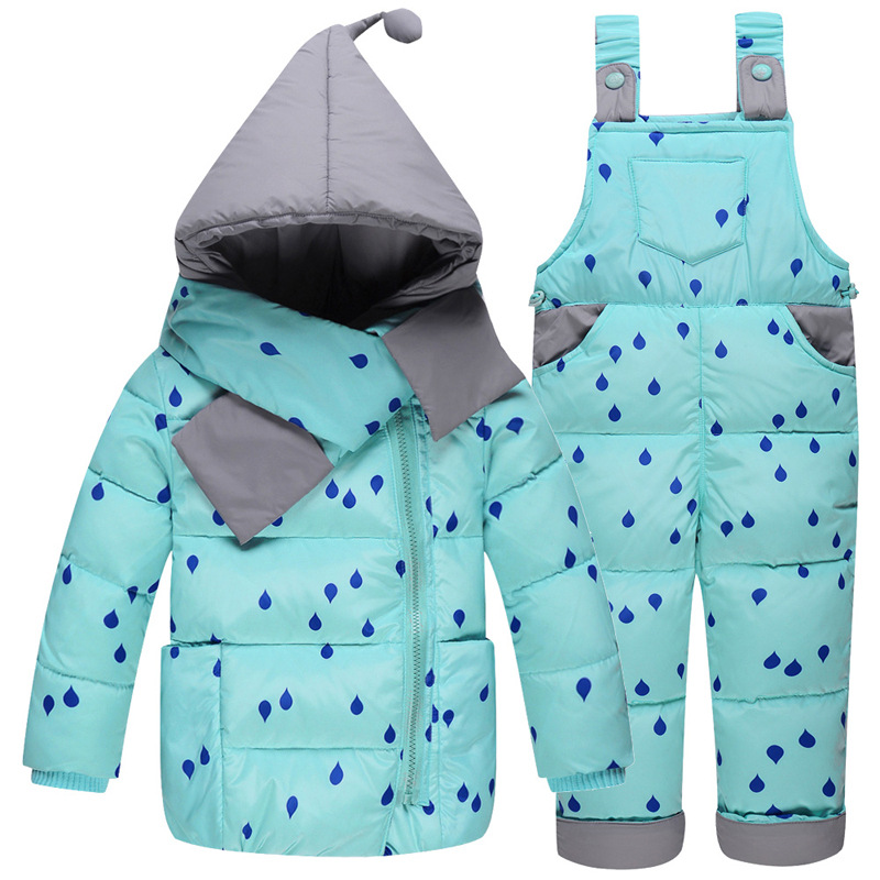 Baby Girls Clothes 2018 Kids Ski Suit Overalls Baby Girls Boys Down Coat Warm Snowsuits Children Outwears Jackets+bib Pants 2pcs цена