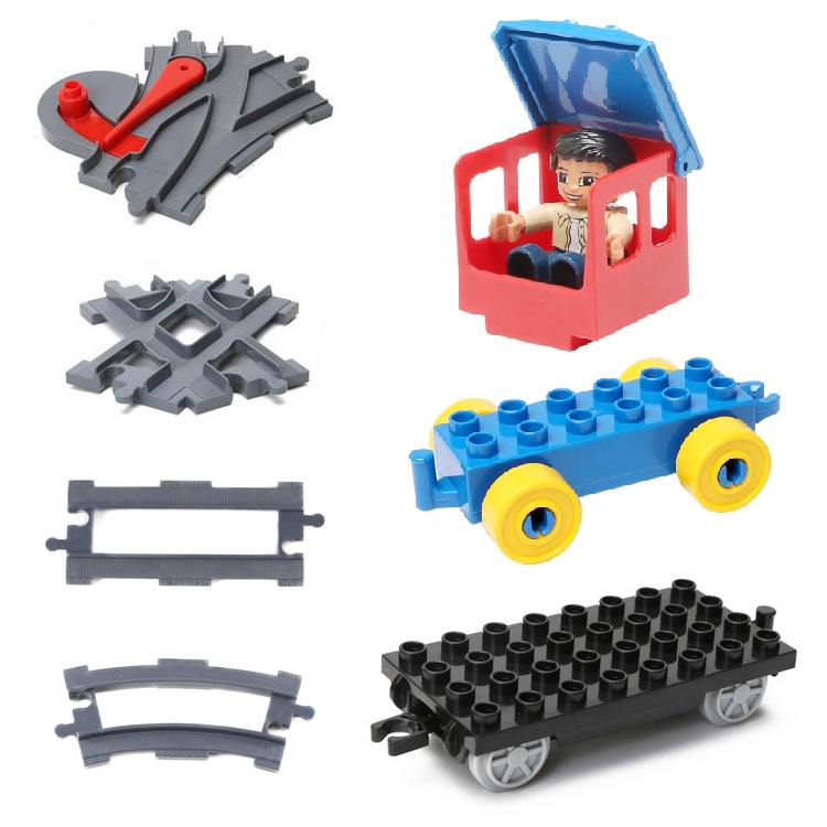 carriage trailer Vehicle Set Car Bricks Rail Big Particles Building Blocks track accessory DIY Toys Compatible with Duplo Gifts new big size 40 40cm blocks diy baseplate 50 50 dots diy small bricks building blocks base plate green grey blue