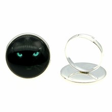 Adjustable Rings Black Cat 20mm Round Glass Cabochon Handmade For Women 2 Colors Vintage Jewelry