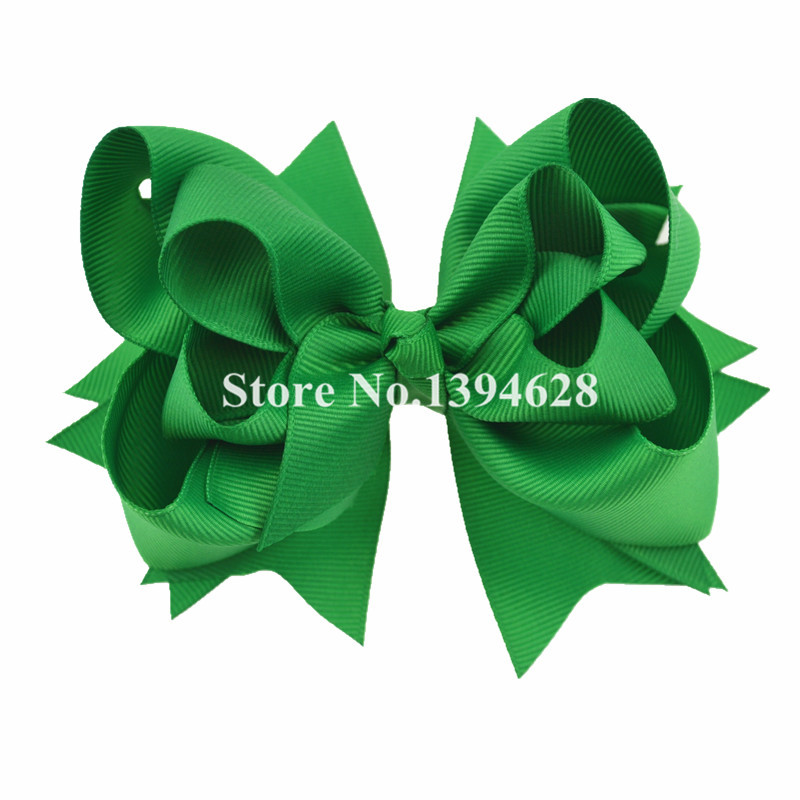 $1/1PCS 5 inches 3 Layers Solid Green  Hair Bows With 6cm Hair Clips Boutique Ribbon Bows For Girls Hair Accessories 1 pcs 6 inch summer girls kids hair clips pin accessories ribbon bows hair barrettes children hairpins hairclip headdress solid