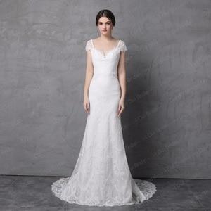 Image 2 - Sheath Lace Wedding Dress Real Photo Cap Sleeve Bow Tie V Back High Quality