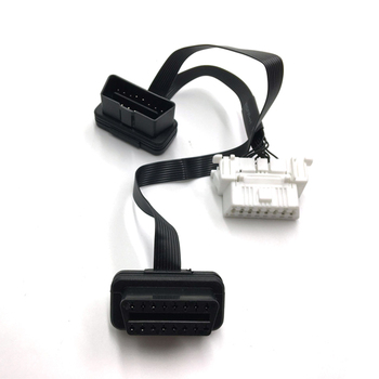 OBD 2 Male To Dual Female Y Adapter Elbow Flat Thin Extension Cable Snap In Mount For Nissan 96-up GPS Diagnostic image