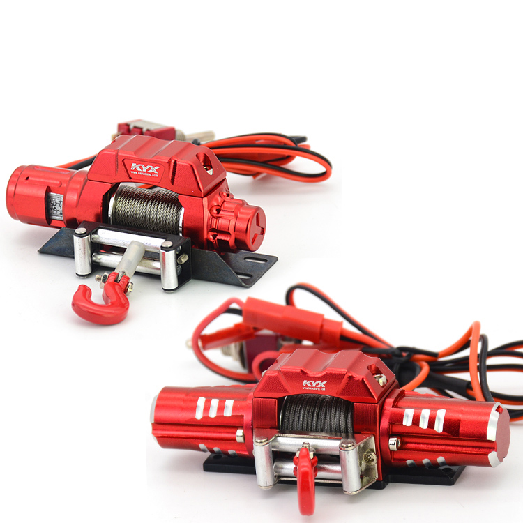 Oyuncaklar ve Hobi Ürünleri'ten Parçalar ve Aksesuarlar'de KYX Alüminyum Alaşım Elektrik Öz kurtarma Vinç Tek/Çift Motor Irgat Irgat Kanca için RC 1/10 Tırmanma Araba 1:10 TRX 4 KM2'da  Grup 1