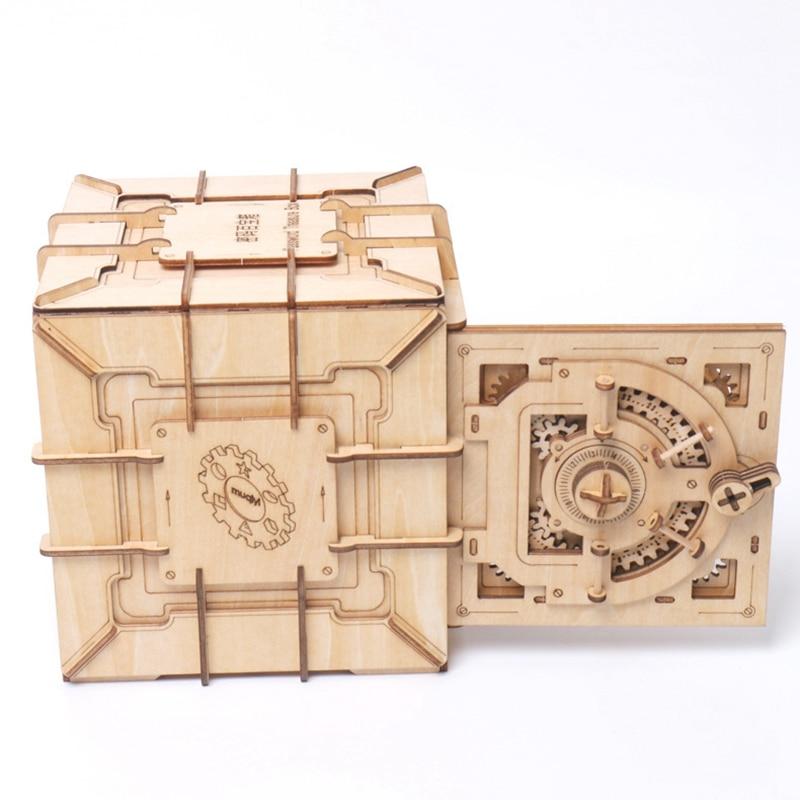 3d quebra cabeças de madeira senha caixa