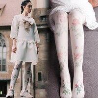 2018 Bloemen Panty Nieuwe Promotie Vrouwen Medias Pantis Vrouw Japanse Fan Art Rose Anti Haak Kousen Persoonlijkheid