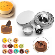 OLOEY Stainless Steel Cake Mould 12pcs/lot Round Biscuit Baking Mold Tools DIY Mini Mousse Cookie Cutter Circle Fondant Dessert