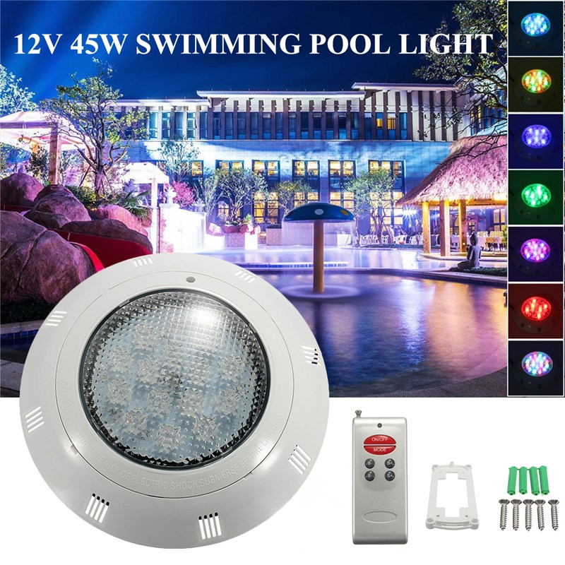 Swimming Pool Light 12V 45W RGB LED Wall Mounted Underwater With Remote Controller IP68 Waterproof Outdoor Lamp Pond Light 10w 450 lumen waterproof rgb led underwater lamp light with remote controller dc 12v