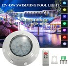 Swimming Pool Light 12V 45W RGB LED Wall Mounted Underwater With Remote Controller IP68 Waterproof Outdoor Lamp Pond Light