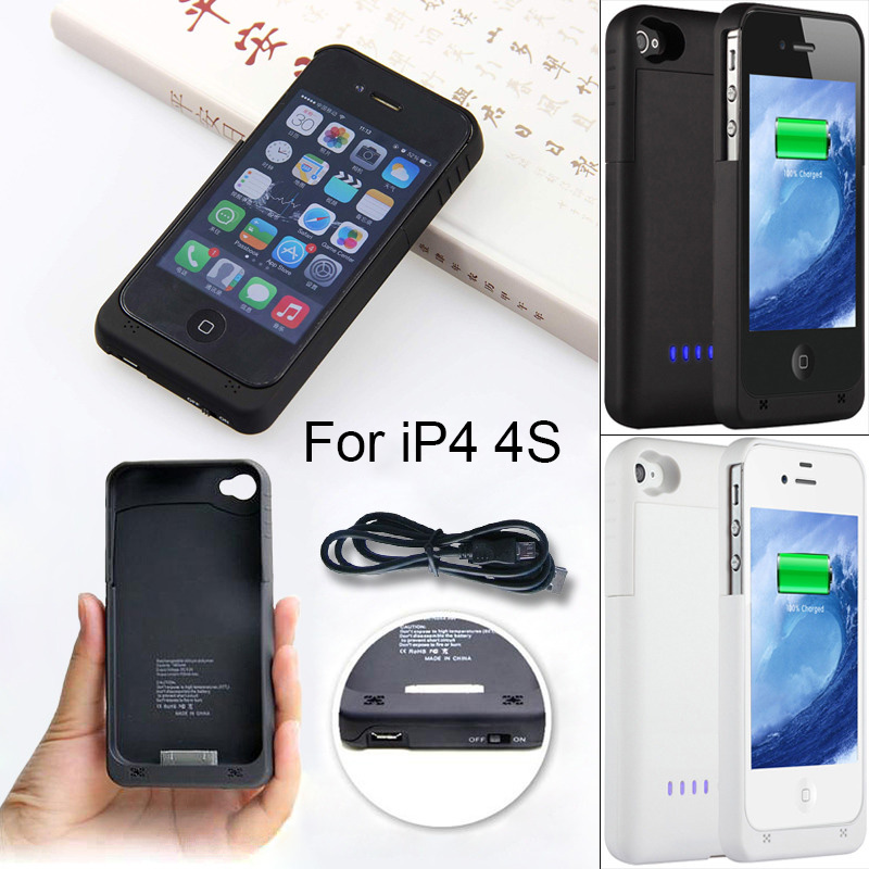 1900mAh External power bank Charger pack backup battery case for iphone 4 4s with USB charge cable line