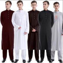 Men Robe Dress Full Length Islamic Kaftan Jubba Thobe Camisas 5XL Solid Muslim Clothes Masculina Saudi Arabia Kafta